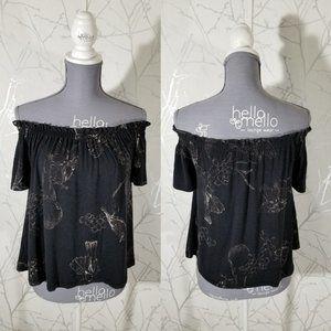 Wilfred Black Floral Print Off The Shoulder Blouse